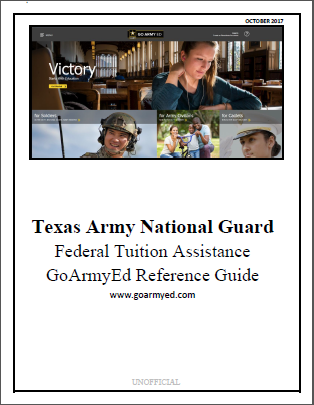 Texas Army National Guard Federal Assistance GoArmyEd Reference Guide handbook PDF Link