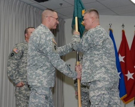 Maj. Paul D. Mancuso assumed command of Camp Mabry's Garrison Command unit, from Lt. Col. John (Les) Davis at a ceremony held on Camp Mabry in Austin, Texas.