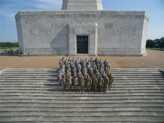 Army National Guard gathered in the prolific shadow of the 567-foot San Jacinto Monument