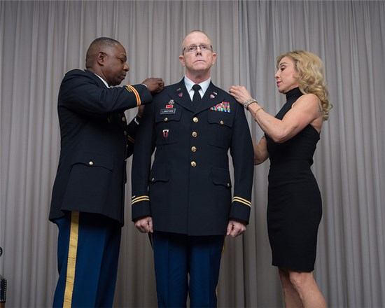 After 37 years of service, Langford was promoted to the rank of Chief Warrant Officer 5, the highest rank in the Warrant Officer Corps, in a ceremony at Camp Mabry in Austin, Texas, Dec. 5, 2015