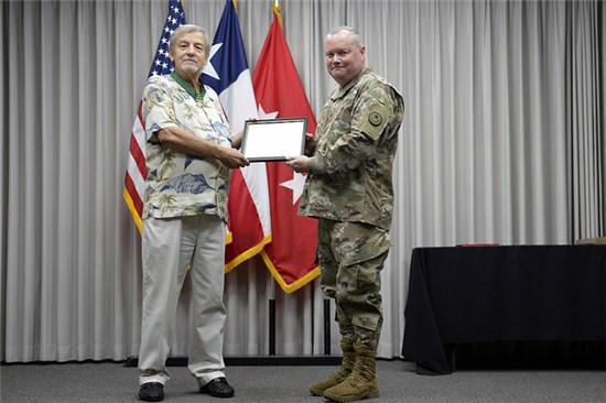 retired Sgt. Maj. Elwood Imken's service to the Texas National Guard