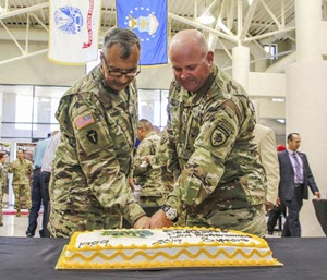 Photo By Capt. Nadine Wiley De Moura | Col. Miguel Torres and Command Sgt. Maj. Brian Harless cut the Counterdrug's 30th Anniversary cake. Current and former task force members reunited with their law enforcement and community partners to commemorate the Texas National Guard Joint Counterdrug Task Force's 30 years of support to law enforcement agencies, Aug. 7, 2019, at Camp Mabry in Austin, Texas. Counterdrug law enforcement partners in attendance included the Department of Homeland Security Investigations, three out of the four Texas High Intensity Drug Trafficking Area directors, two of the three Drug Enforcement Administration field division special agents in charge, the Texas Department Public Safety, the Texas Rangers and the Customs and Border Protection, Air and Marine Division. The law enforcement partners were presented with a 30th Anniversary certificate of appreciation and a 30th anniversary commemorative Counterdrug coin. As part of the ceremony, Chief Warrant Officer 4 Brandon Briggs was awarded as the Counterdrug Bil Enney Task Force Member of the Year and Staff Sgt. Tiffany Carrion was awarded as the Texas Criminal Analyst of the Year. Maj. Gen. Dawn Ferrell, the Texas Military Department Deputy Adjutant General-Air, presided over the ceremony with several other TMD leadership in attendance.