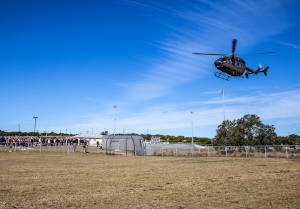 The Texas National Guard Joint Counterdrug Task Force flew Drug Enforcement Administration special agents in an Army National Guard Luh-72 Lakota helicopter to five Austin-area schools to talk about drug abuse prevention and awareness. (US Army National Guard Photo by Master Sgt. Johnie Smith)