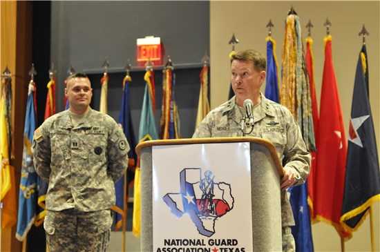 Texas Adjutant General Air Force Maj. Gen. John Nichols addresses attendees at the National Guard Association of Texas Conference in Corpus Christi, March 25.