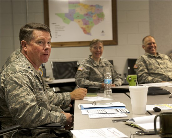 Maj. Gen. John F. Nichols, The adjutant general of Texas, visiting with senior leaders of the Texas Military Forces on Camp Mabry, in Austin, Texas, March 20, 2013.
