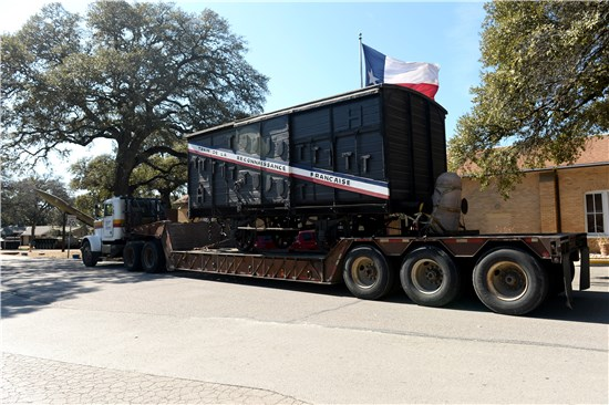 The boxcar was one of 49 given to the U.S. in 1949 - one for each state and the then Hawaiian territory, and was inducted into the Texas Military Forces Museum at Camp Mabry during a ceremony on Feb. 23, 2014.