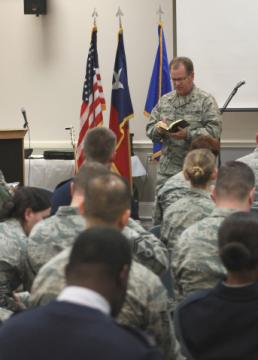 Courtesy Photo Chaplain Brig. Gen. Steve Chisolm, Air National Guard Assistant to the U.S. Air Force Chief of Chaplains, preaches to Texas Air National Guardsmen and their families during a chapel service held at the 136th Airlift Wing headquarters, Nov. 15, 2015, Naval Air Station Joint Reserve Base Fort Worth, Texas. Chisolm began his career as an Air Force chaplain at the 136th Airlift Wing where he helped build one of the largest chapel programs in the Air National Guard. (U.S. Air National Guard photo by Senior Airman Seth Holderby/Released)