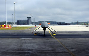 An MQ-1B Predator from the 147th Reconnaissance Wing, Texas Air National Guard, based at Ellington Field Joint Reserve Base in Houston, is parked at Lielvarde Air Base, Latvia, Aug. 31, 2015. Wing members mobilized with other members of the wing to the Baltic nation where they deployed an entire MQ-1B Predator package, launching and recovering the first large-scale remotely piloted aircraft in Latvia. (Air National Guard photo by 1st Lt. Alicia Lacy/Released)