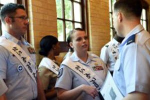 Staff Sgt. Mindy Bloem Tech. Sgt. Jacqueline Crow, an intelligence analyst with the 149th Fighter Wing, Texas Air National Guard, and fellow Air Force ambassador, Tech. Sgt. Steven Nowicki, 341st Training Squadron, both headquartered at Joint Base San Antonio-Lackland, Texas, talk to 2nd Lt. Phil Fountain, a 149th Public Affairs officer, during the Fiesta 2016 Media Day, March 16, 2016, in downtown San Antonio. Crow and Nowicki represent JBSA as Air Force ambassadors, a military community engagement program that annually selects the top two members, male and female respectively, from each service branch as representatives.