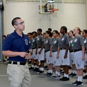 Trey Rocha, Texas ChalleNGe Academy-East commandant, speaks to TCA-E candidates in formation at the TCA-E campus in Eagle Lake, Texas, July 18, 2016. TCA is a Department of Defense program through the Texas National Guard's Joint Counterdrug Taskforce. (Air National Guard photo by 1st Lt. Alicia Lacy)