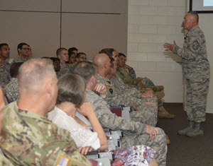 Photo By Sgt. Elizabeth Pena | Chief Master Sgt. Mitchell O. Brush, Senior Enlisted Advisor, right, talks with service members of the Texas Army and National Guard, left, during a town hall meeting at Camp Mabry, Austin, Texas, June 17, 2016. The meeting was part of the visit from General Frank J. Grass, Chief of the National Guard Bureau. Brush gave servicemembers words of advice on how to be good leaders for incoming soldiers and airmen. (U.S. Army National Guard photo by Sgt. Elizabeth Pena)