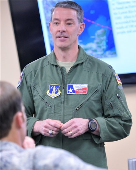 Col. Thomas M. Suelzer, director of operations for Headquarters, Texas Air National Guard, addresses those assigned to the organization's air operations center at Camp Mabry, in Austin, Texas, June 7, 2016. The center was stood up to coordinate air assets participating in an aerial evacuation exercise being managed by the Texas Division of Emergency Management, a component of the Texas Department of Public Safety. (U.S. Air National Guard photo by 2nd Lt. Phil Fountain)