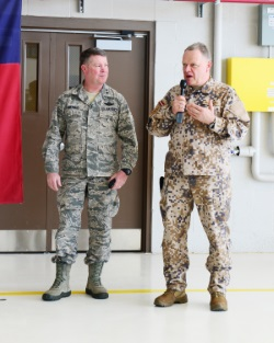 Lt. Gen. Raimonds Graube, Latvian chief of defense, and Maj. Gen. John Nichols, adjutant general of Texas, speak to members of the 147th Reconnaissance Wing at Ellington Field Joint Reserve Base in Houston, March 4, 2016. Lt. Gen Graube is visiting Ellington Field to meet and talk with members of the 147th Reconnaissance Wing who deployed to Latvia in September of 2015. (Air National Guard photo by Master Sgt. Sean Cowher / Released)
