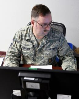 Staff Sgt. Mindy Bloem Senior Master Sgt. Carl Boeshore, 149th Fighter Wing Inspector General for Inspections superintendent, Texas Air National Guard, finishes some paperwork in his office, March 11, 2016, at Joint Base San Antonio-Lackland, Texas. Boeshore came to the unit in 2013 as the first enlisted person assigned to the IGI when the program was still in its early stages. He plans to retire from the military April 9, 2016, after 29 years of service.