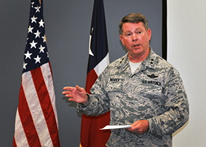 Maj. Gen. John F. Nichols, the adjutant general of Texas, addresses members of the Air National Guard Strategic Planning System Central Region during a meeting at Naval Air Station Fort Worth Joint Reserve Base, Texas, April 4, 2016. Nichols, a gubernatorial appointee, is the senior National Guard officer in Texas. (U.S. Air National Guard photo by 2nd Lt. Phil Fountain)