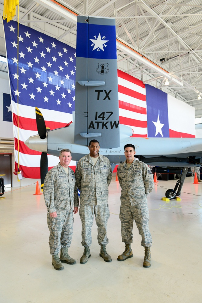 Photo By Staff Sgt. Daniel Martinez | The 111th Attack Squadron at Ellington Field, Texas, celebrates their 100th anniversary on August 12, 2017 at Ellington Field, Texas. The 147th Reconnaissance Wing was also redesignated to the 147th Attack Wing. (U.S. Air Force photo/Staff Sgt. Daniel J. Martinez)