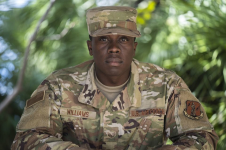 Staff Sgt. Williams poses for a photo. (US Army National Guard photo by Staff Sgt. Mark Otte)