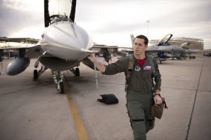 First Lt. James Demkowicz, a student pilot assigned to the 149th Fighter Wing, Texas Air National Guard, conducts preflight checks prior to launch during Coronet Cactus, Feb. 28, 2020, at Luke Air Force Base, Ariz. The annual training event deploys members of the 149th Fighter Wing, headquartered at Joint Base San Antonio-Lackland, Texas, to another environment in order to familiarize them with accomplishing mission objectives in an unfamiliar location. (U.S. Air National Guard photo by Staff Sgt. Derek Davis)