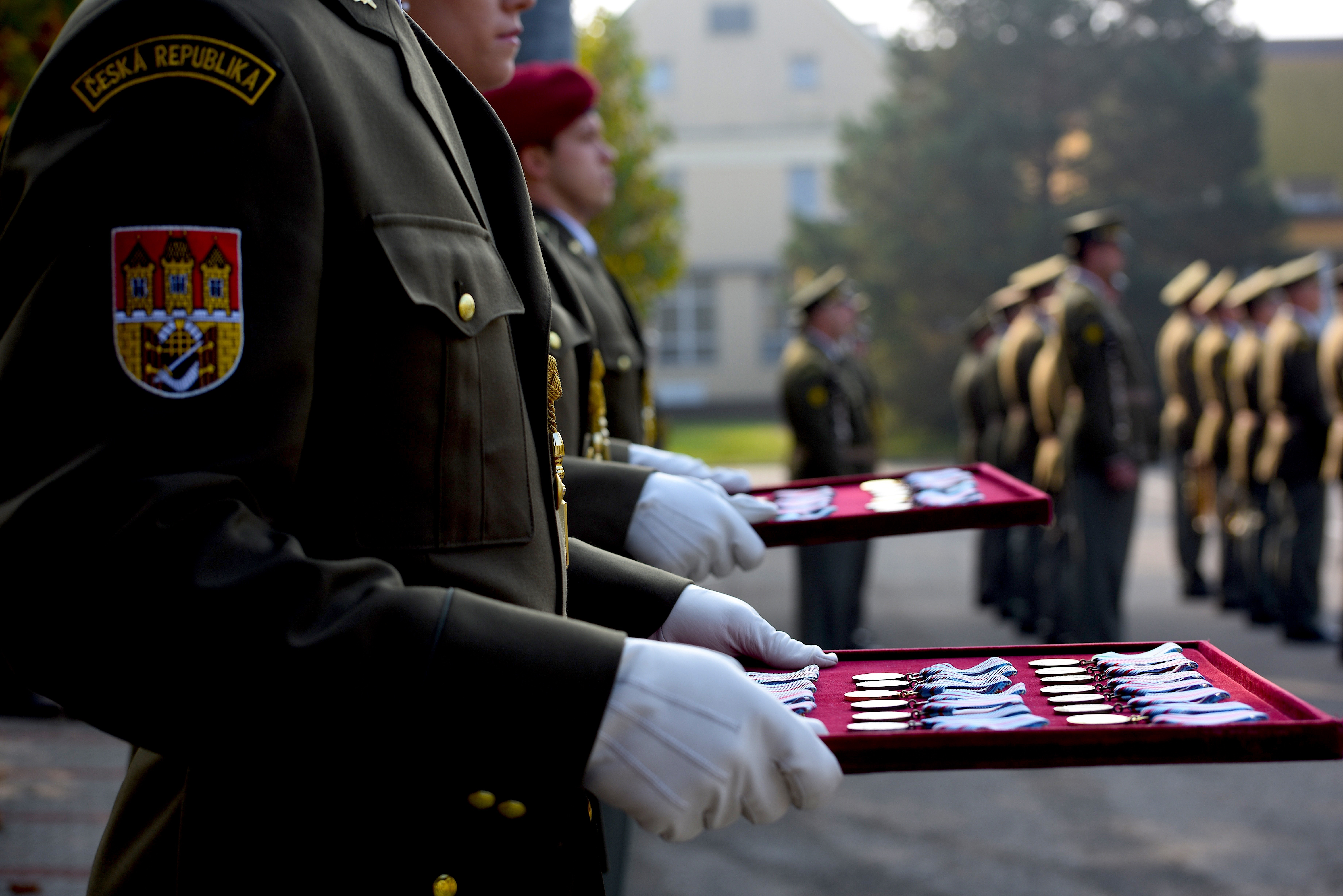 A Czech Republic soldier prepares to present awards during a during a ceremony in Prostejov, Oct. 25, 2019, marking a successful six-month tour to Western Afghanistan. During the ceremony, Special Forces Soldiers from the Czech Republic and Texas Army National Guard received awards, distinctions and badges of honor as an appreciation for their successful service abroad and excellent representation of their homeland. The Texas Military Department and the Czech Republic have participated in the U.S. Department of State's Partnership Program cooperation since 1993 with the Nebraska National Guard, in support of the U.S. European Command Theater Security Cooperation Strategy. (U.S. Army photo by Staff Sgt. Elizabeth Pena)