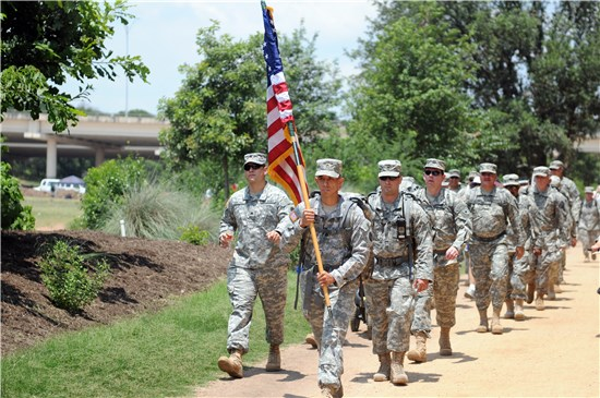 Army Staff Sgt. David Mendiola leads the fourth annual March for Fallen Heroes in Austin, Texas, May 29.