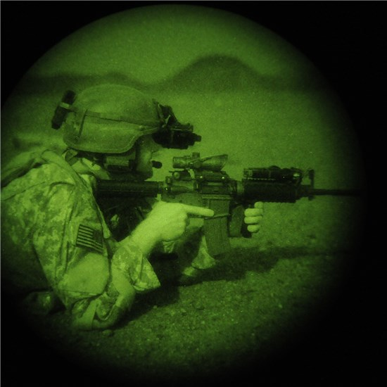 Texas National Guardsmen conduct night operations training.