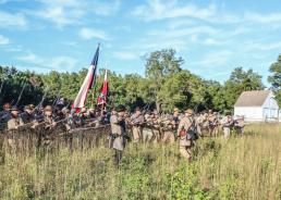 Courtesy Photo The Texas Military Forces (TXMF) Museum's living history detachment portrays Texas Civil War veterans during a reenactment commemorating the Battle of New Market Heights in Henrico County, Virginia, Sept. 26, 2014. The detachment, which covers numerous time periods and pays tribute to the Texas military and the service and sacrifices made by Texas veterans, received a Texas Star award from the Texas Living History Association for its living history program in a ceremony held in Dallas, Jan. 24, 2015. (Photo courtesy Jeff Cantrell, TXMF Museum)