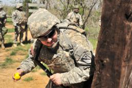 Master Sgt. Daniel Griego Staff Sgt. Paul Rivera of the Texas National Guard's 136th Expeditionary Signal Battalion conducts grenade familiarization during the organization's Key Leader Pre-Mobilization Training March 25, 2015, at Camp Mabry in Bastrop, Texas. By conducting their training early, unit leaders will be able to help train and guide the battalion's main body personnel through the same lanes in June. (U.S. Army National Guard photo by Master Sgt. Daniel Griego/Released)