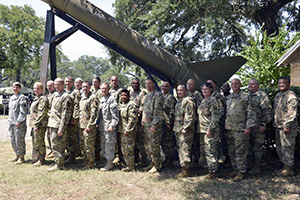 Key leaders from the Texas Military Department and active-duty gathered at the round table, August 12, 2016, at Camp Mabry in Austin, Texas, for the Associated Unit Pilot Leadership forum. This was the first event hosted by Texas since the AUP program was implemented. The meeting gave active duty leaders an idea of what the National Guard does and the different pay statuses that guardsmen can be in. (U.S. Army National Guard photo by: Sgt. Elizabeth Pena/Released)