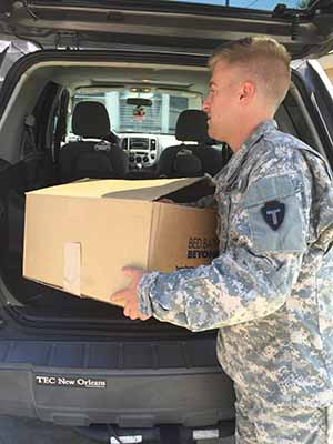 Texas Army National Guard Cadet David Williams, 149th ARB, and a current resident of Baton Rouge in Houston collected supplies to bring to Louisiana Guardsmen who lost their homes to the recent flooding in Baton Rouge, August 21, 2016. Texas Guardsmen from the unit collected more than 20 bags of clothes, appliances, tools, diapers, baby formula and food for the victims of the natural disaster and transported them more than 250 miles for the effected guardsmen and their families. (Courtesy photo)