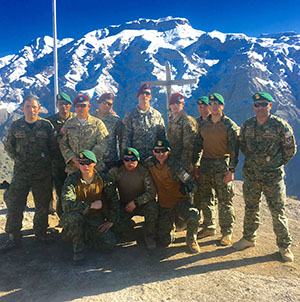 Texas Guardsmen attend the Chilean Mountain School course August 15-26, 2016 in Portillo, Chile with Chilean army soldiers. The 10-day course consisted of basic competencies on movement, maneuvering, and life-saving techniques in spring and winter mountain terrain. Through these military exchanges, soldiers are given the opportunity to experience new types of operations. (Courtesy Photo)