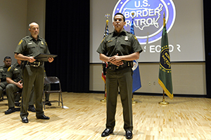 Sgt. Josue Gonzalez, border patrol agent and traditional guardsman with the 836th Engineer Company, Texas National Guard was awarded the Law Enforcement Congressional Badge of Bravery for his actions during a ceremony on Oct. 5, 2016, in Laredo, Texas. Gonzalez recognized for their actions in saving an illegal immigrant from rapid currents during a 2014 Rio Grande River border crossing. (U.S. Army National Guard photo by Sgt. Elizabeth Pena)