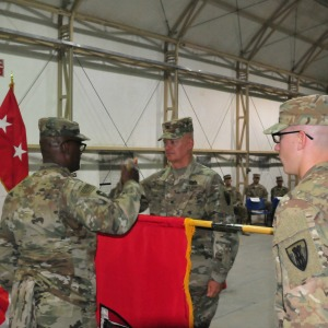 Courtesy Photo | Col. Charles Schoening, Commander of the 176th Engineer Brigade and Task Force Chaos and senior enlisted advisor Command Sgt. Maj. Anthony Simms, officially assumed authority for engineer construction missions for the entire U.S. Army Central area of responsibility. The occasion was marked with a formal ceremony attended by representatives from each subordinate command within the task force, as well as commanders of several adjacent units. (Photo by U.S. Army National Guard Courtesy of 176th Engineer Brigade)
