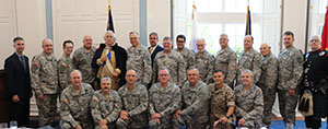 Texas State Guard chaplains and unit commanders join together to pay tribute to the men and women of the United States and Texas military forces on Armed Forces Day at Dallas Baptist University, Dallas, Texas, May 21, 2016.  Presenters at this seventh prayer breakfast include George Washington impersonator Mark Collins, Kim Pedersen of 1000bulbs.com, and Bagpiper Steve Pruitt.  (Photo by CW2 Janet Schmelzer, TXSG/Released)
