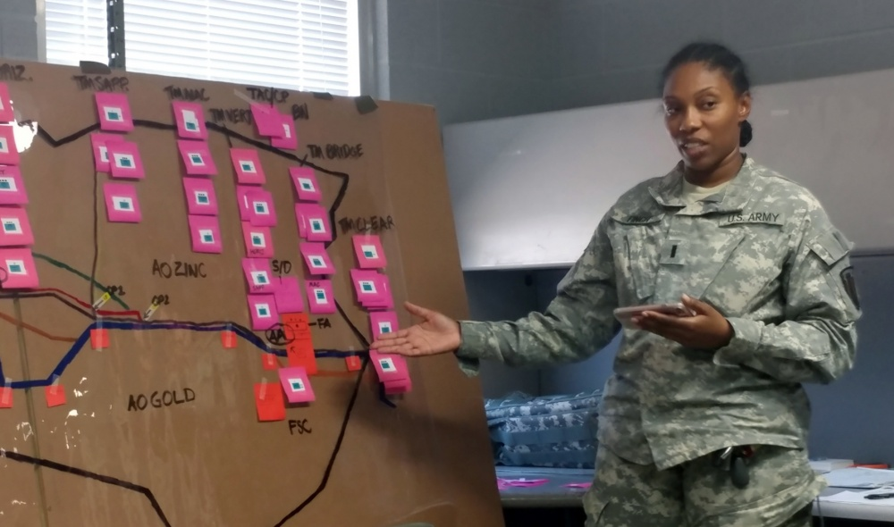 Photo By Capt. Aaron Moshier | 1st Lt. Tiffany Finch, logistics officer, 386th Engineer Battalion presents her brief after receiving military decision making process training during annual training, 9-14 July 2017, Camp Swift, Texas. The MDMP training is offered through experienced trainers of the Army National Guard's Mission Command Training Group based in Ft. Leavenworth, Kan. (U.S. Army National Guard photo by Courtesy photo)