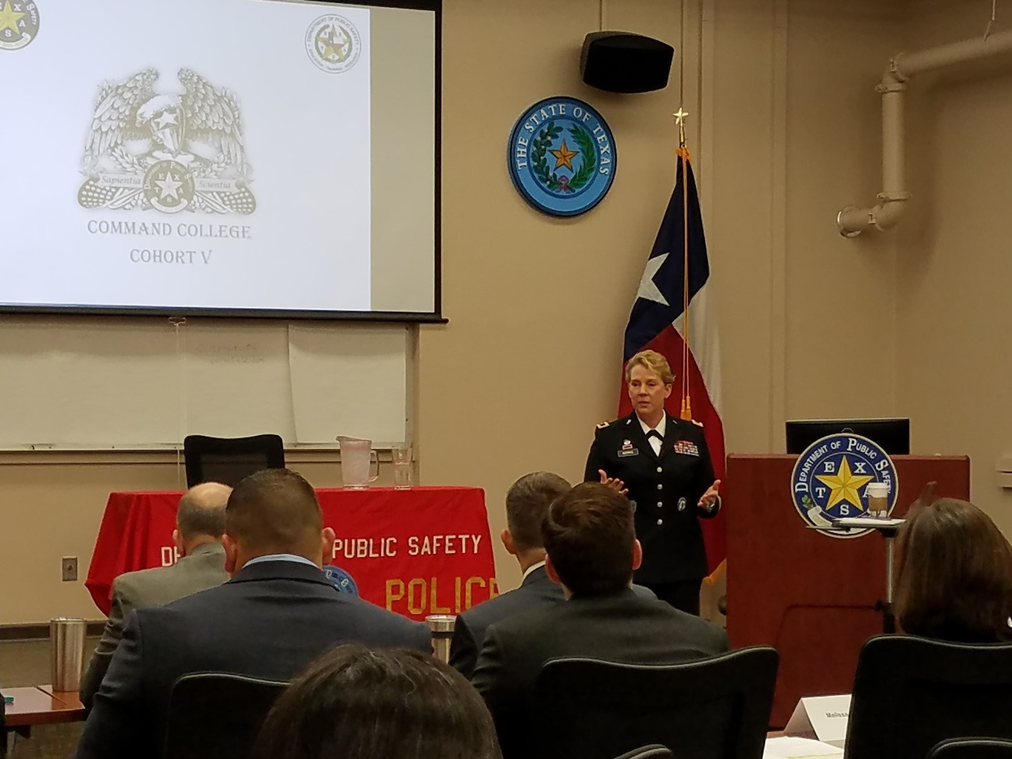 Brig. Gen. Tracy Norris, addresses the Texas Department of Public Safety Command College, Cohort V Class to prepare them for their culminating CAPSTONE event at the DPS Headquarters in Austin, Texas, March 8, 2017. The TXARNG and Texas DPS train together and support each other in domestic operations in order to better serve the citizens of Texas.