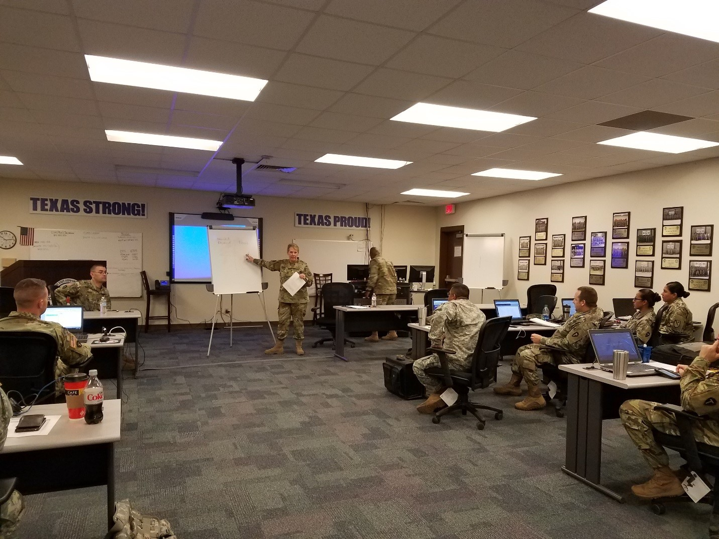 Brig. Gen. Tracy Norris conveys her vision for the way ahead for Texas Army National Guard logisticians at the Sustainment Assistance Logistics Training Course of the Texas Army Career Training Program, at Camp Bowie in Brownwood, Texas, March 28, 2017. (U.S. Army National Guard photo by 1st Lt. Jolene Hinojosa)