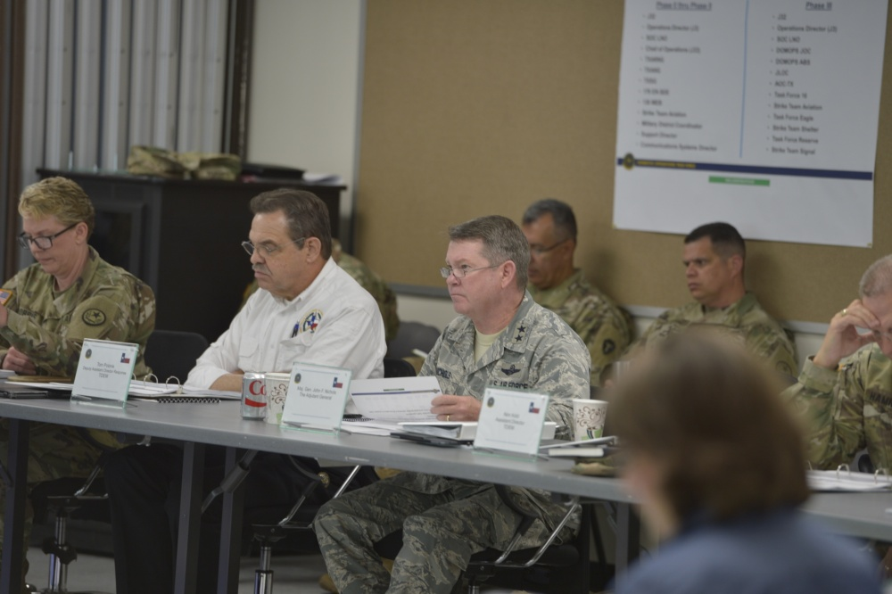 Texas Adjutant General, Major General John F. Nichols reviews the state's plan for a hurricane with Texas agency leaders at the Hurricane Rehearsal of Concept drill at Camp Mabry in Austin, Texas, May 10, 2017. The H-ROC drill brings together all the agencies involved in hurricane response in Texas for a walk though of the state's plan. (U.S. Army National Guard photo by Sgt. Mark Otte/Released)