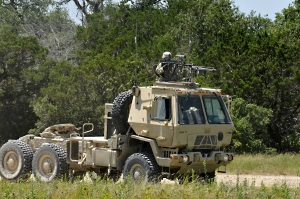 National Guard soldier manning truck based mounted gun