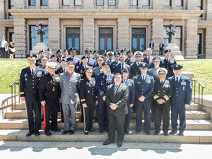 Texas military leaders and Chilean military leaders pose for a photo at the Texas State Capitol in Austin, Texas, April 12, 2019. The Texas National Guard and Chilean armed forces converged in Austin, Texas to discuss and celebrate their partnership that started one decade ago. As part of the annual State Partnership Program Planning meeting, the parties met to discuss, plan and establish agreed upon activities, in both countries, for the year ahead. The events, held throughout the year, focus on disaster/emergency response; aviation operations, maintenance and safety; military medical and engineer activities; as well as leadership, staff, officer and noncommissioned officer development.