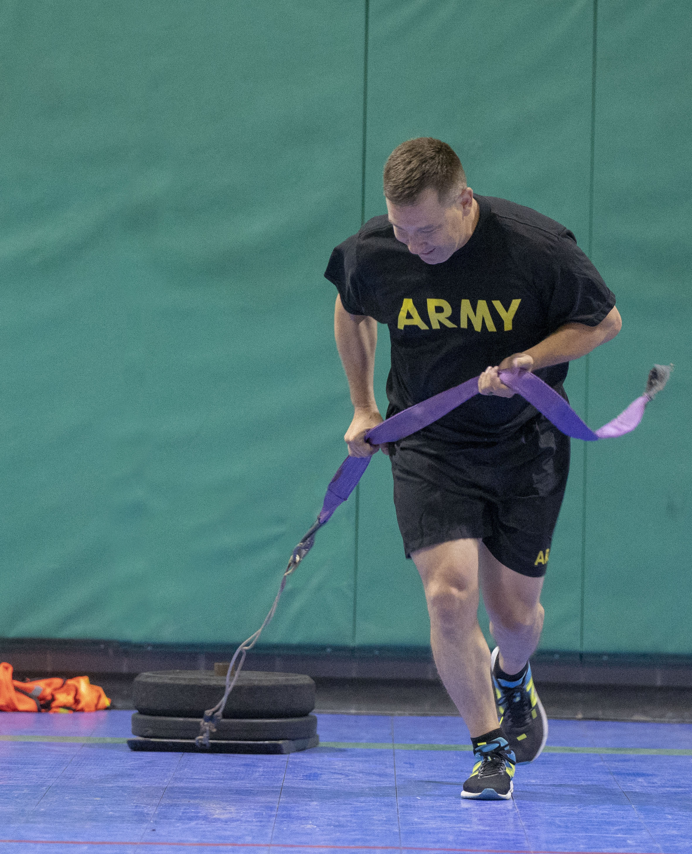 Members of the Senior Enlisted Leader Conference learn new events to be included in the Army Combat Fitness Test during a training exercise held at Camp Mabry, Texas on October 25, 2019. (U.S. Army National Guard Photo by Staff Sgt. Mark Otte)
