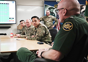 Rio Grande Valley Sector assistant chief patrol agent Vaughn Horne speaks to National Guard members at the U.S. Border Patrol Rio Grande Valley Sector Headquarters, Edinburg, Texas, Nov. 1, 2019. (Air National Guard photo by Staff Sgt. De'Jon Williams)