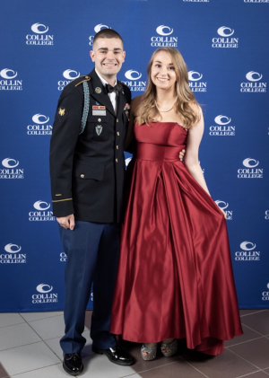 Spc. Matt Oldham and fiance Emma Sonck pose during a red carpet event hosted by Collin College. (Courtesy Photo: Army.com)