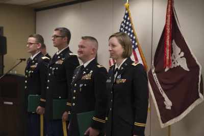 January 31, 2020 Soldiers from Interservice Physician Assistant Program class I7-3 graduate during a ceremony held at the Caral R. Darnall Medical Center. (U.S. Army National Guard photo by Andrew R. Smith/Released)