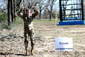 Army Spc. Jacob D. Arndt performs 25 burpees as part of the obstacle course during the Texas Military Department's 2020 Best Warrior Competition March 5, 2020 at Camp Swift near Bastrop, Texas. Arndt, part of the 176th Engineers Brigade, is currently attending college and plans to commission as an officer through Reserve Officer Training Course (ROTC).