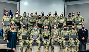 The Texas Army National Guard graduated twenty-four students from the University of Texas Project Management Certificate Program, October 7, 2020, during a ceremony at Camp Mabry in Austin.