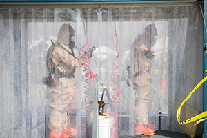 ROUND ROCK, Texas Dec 5, 2019 — National Guardsmen from the Texas based 136th Infintray Division, CBRNE Task Force, preform washdown drills as part of a FEMA certification. These drills are an important preperation for disasters that may occurn in FEMA region 6. (U.S. Army Photo by Andrew R. Smith/Released)