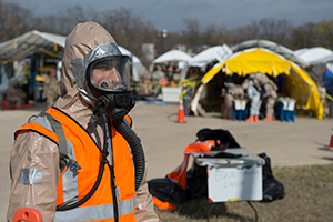 ROUND ROCK, Texas Dec 5, 2019 — A National Guardsmen from the Texas based 136th Infintray Division, CBRNE Task Force, stands a decontamination boundry watch as part of a FEMA certification. These drills are an important preperation for disasters that may occurn in FEMA region 6. (U.S. Army Photo by Andrew R. Smith/Released)