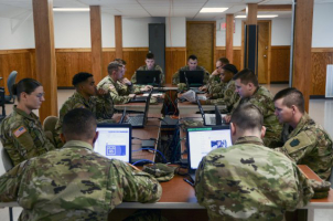 Pennsylvania Army National Guard cyber team members monitor computer networks during elections in the state Nov. 5, 2019. Cyber teams from throughout the National Guard have remained a key part of cyber defense, said Guard officials, and have responded to ransomware attacks in Texas and Louisiana and worked in direct support of U.S. Cyber Command. (Photo Credit: Staff Sgt. Zane Craig)