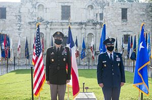 The Texas Military Department hosted a retirement ceremony for Texas Guardsman and the 28th Chief of the National Guard Bureau, General Joseph L. Lengyel at the Alamo in San Antonio on August 28, 2020. The ceremony was officiated by Maj. Gen. Tracy R. Norris, the Adjutant General of Texas, and Gen. Daniel Hokanson, the 29th and current Chief of the National Guard Bureau. (U.S. Army photos by Charles E. Spirtos)