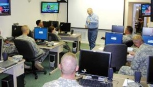 Charles Ashton, SFA geospatial trainer I, briefs Texas State Guard members on what they will be learning during a GPS training. The purpose of the training is to familiarize guard members with introductory GPS applications. The training will continue through Sunday.Photo by Tyesha Boudreaux/The Daily Sentinel